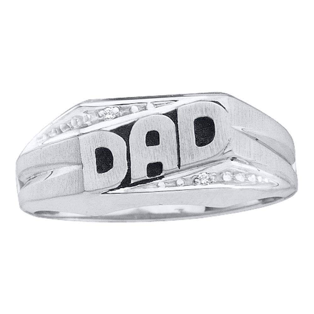 Las Villas Jewelry Men's Diamond Fashion Ring 14kt White Gold Mens Round Diamond Dad Father Ring .01 Cttw