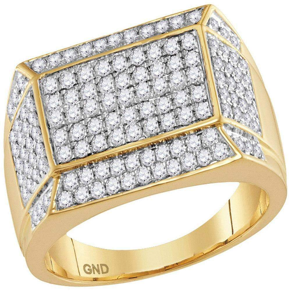Las Villas Jewelry Men's Diamond Fashion Ring 14kt Yellow Gold Mens Round Diamond Rectangle Cluster Ring 1-1/2 Cttw