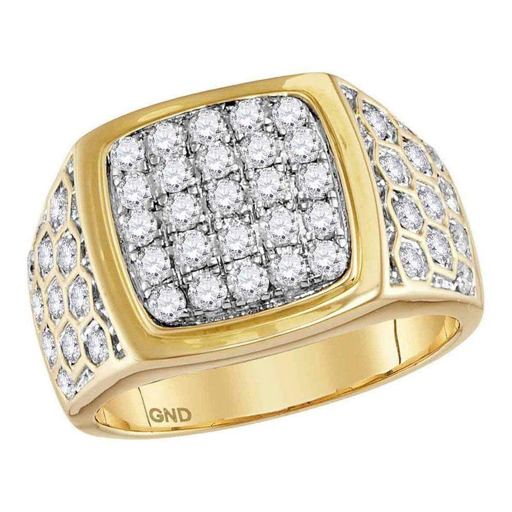 Las Villas Jewelry Men's Diamond Fashion Ring 14kt Yellow Gold Mens Round Diamond Square Cluster Honeycomb Ring 1-3/4 Cttw
