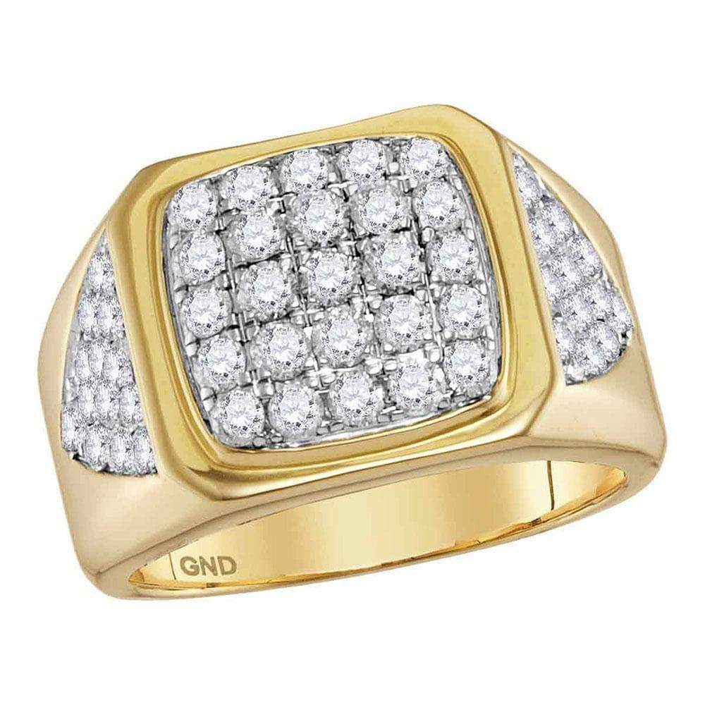 Las Villas Jewelry Men's Diamond Fashion Ring 14kt Yellow Gold Mens Round Diamond Square Cluster Ring 2-1/3 Cttw