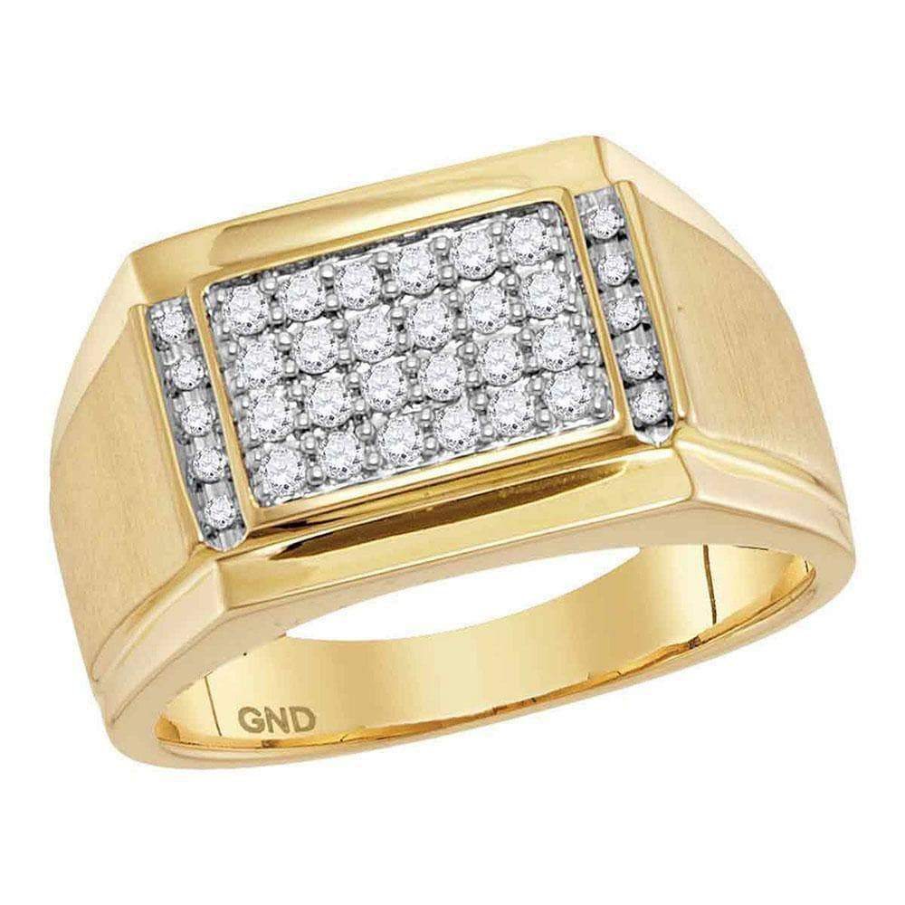 Las Villas Jewelry Men's Diamond Fashion Ring 14kt Yellow Gold Mens Round Diamond Square Cluster Ring 3/8 Cttw