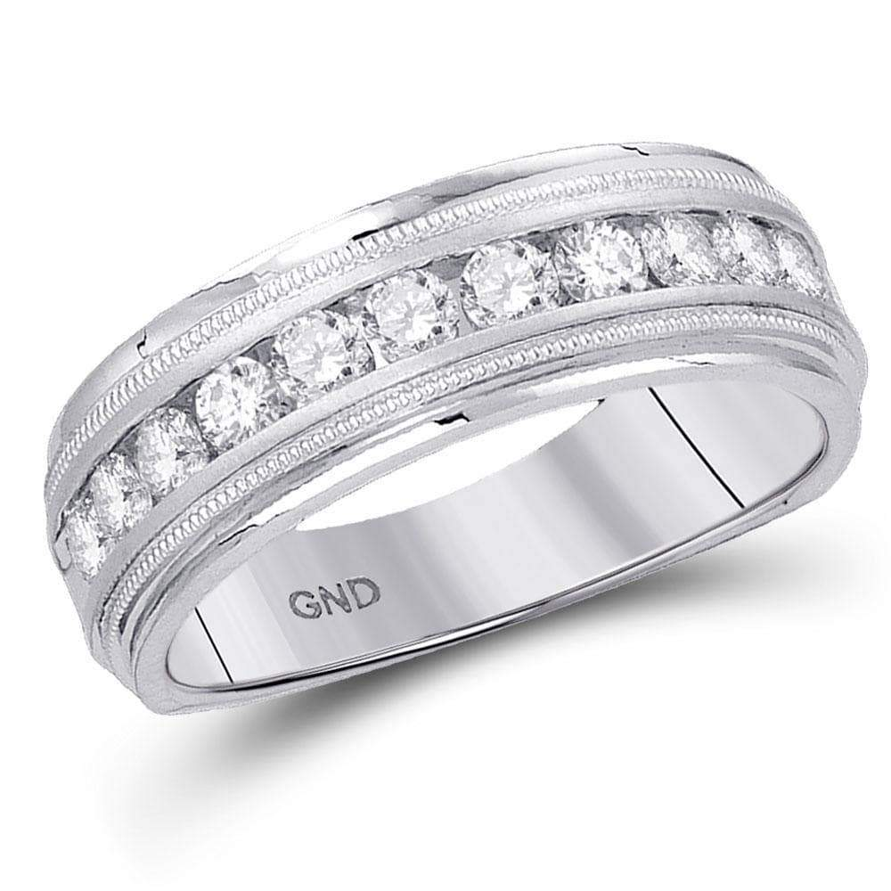 Las Villas Jewelry Men's Wedding Band 10k White Gold Mens Round Diamond Comfort-fit Wedding Anniversary Band 1/4 Cttw