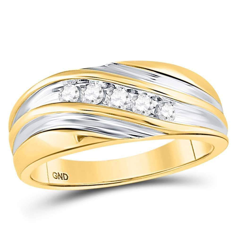 Las Villas Jewelry Men's Wedding Band 10kt Two-tone Gold Mens Round Diamond Wedding Anniversary Band Ring 1/4 Cttw