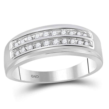 Las Villas Jewelry Men's Wedding Band 10kt White Gold Mens Round Diamond 2-row Wedding Anniversary Band Ring 1/4 Cttw