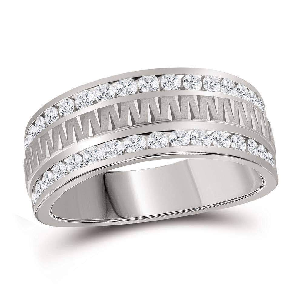 Las Villas Jewelry Men's Wedding Band 14kt White Gold Mens Round Channel-set Diamond Grecco Textured Double Row Wedding Band Ring 1.00 Cttw