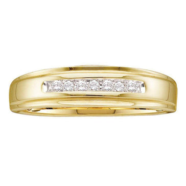 Las Villas Jewelry Men's Wedding Band 14kt Yellow Gold Mens Round Diamond Channel-set Wedding Anniversary Band Ring 1/12 Cttw