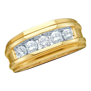 Las Villas Jewelry Men's Wedding Band 14kt Yellow Gold Mens Round Diamond Single Row Wedding Band Ring 1/4 Cttw