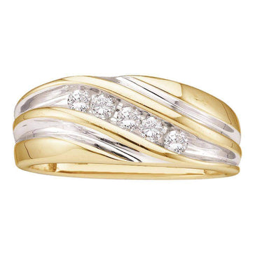 Las Villas Jewelry Men's Wedding Band 14kt Yellow Two-tone Gold Mens Round Diamond Wedding Anniversary Band Ring 1/4 Cttw