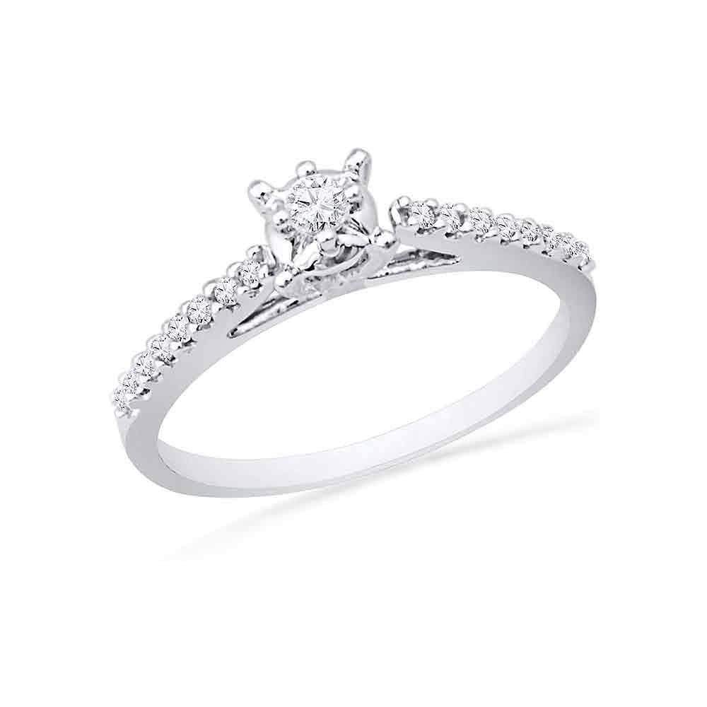 Las Villas Jewelry Promise Ring 10kt White Gold Womens Round Diamond Solitaire Promise Bridal Ring 1/5 Cttw