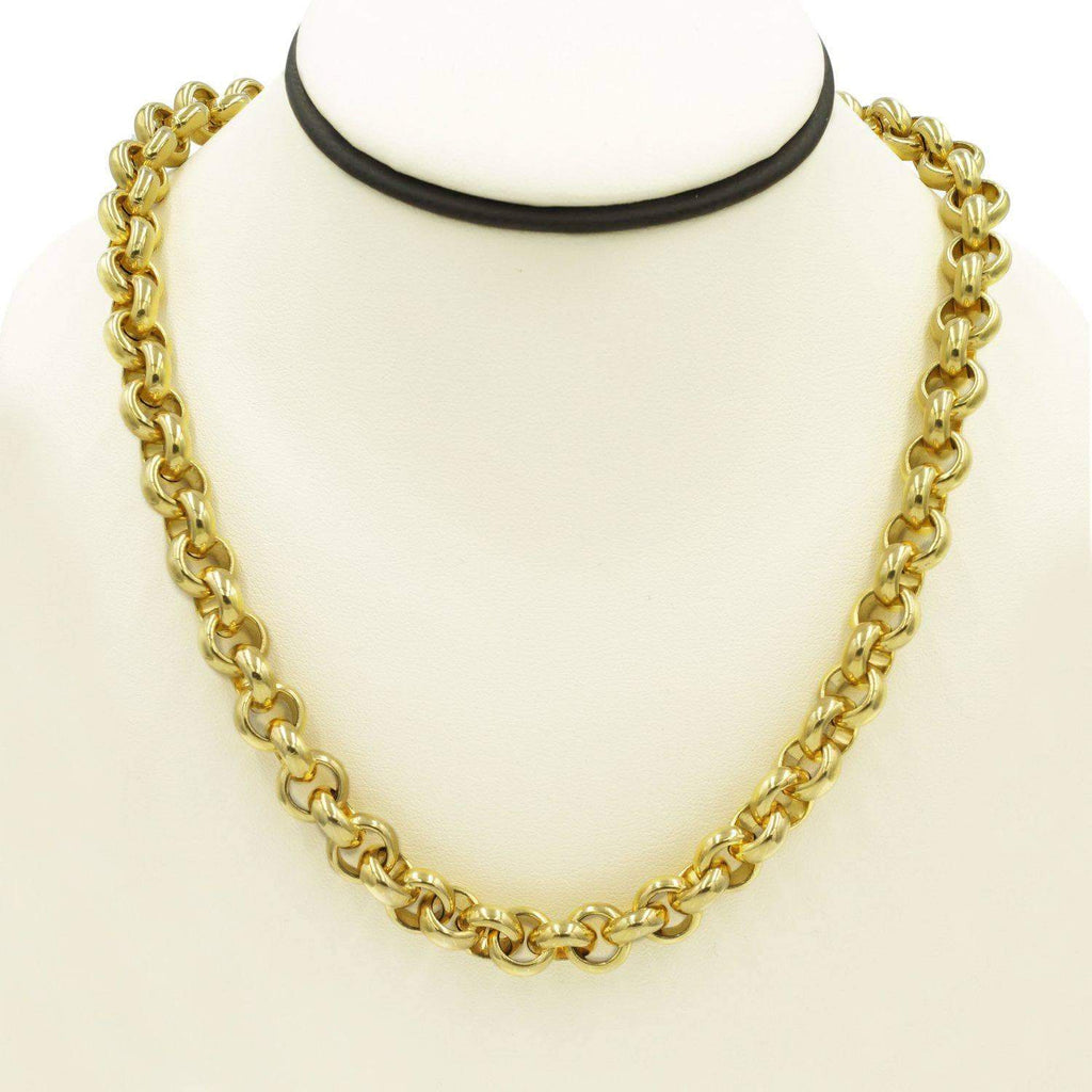 Las Villas Jewelry Rolo Link Rolo Necklace in 14K Solid Gold