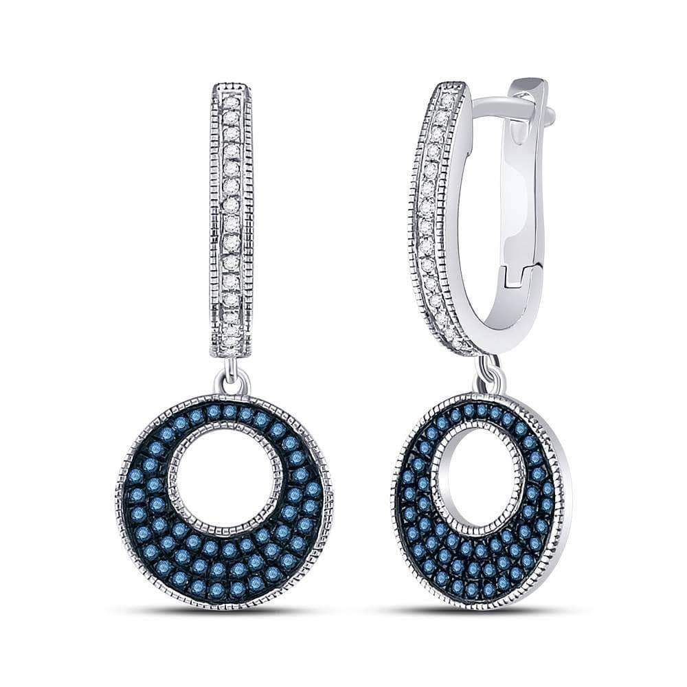 Las Villas Jewelry Womens Diamond Earring 10kt White Gold Womens Round Blue Color Enhanced Diamond Circle Dangle Earrings 3/8 Cttw