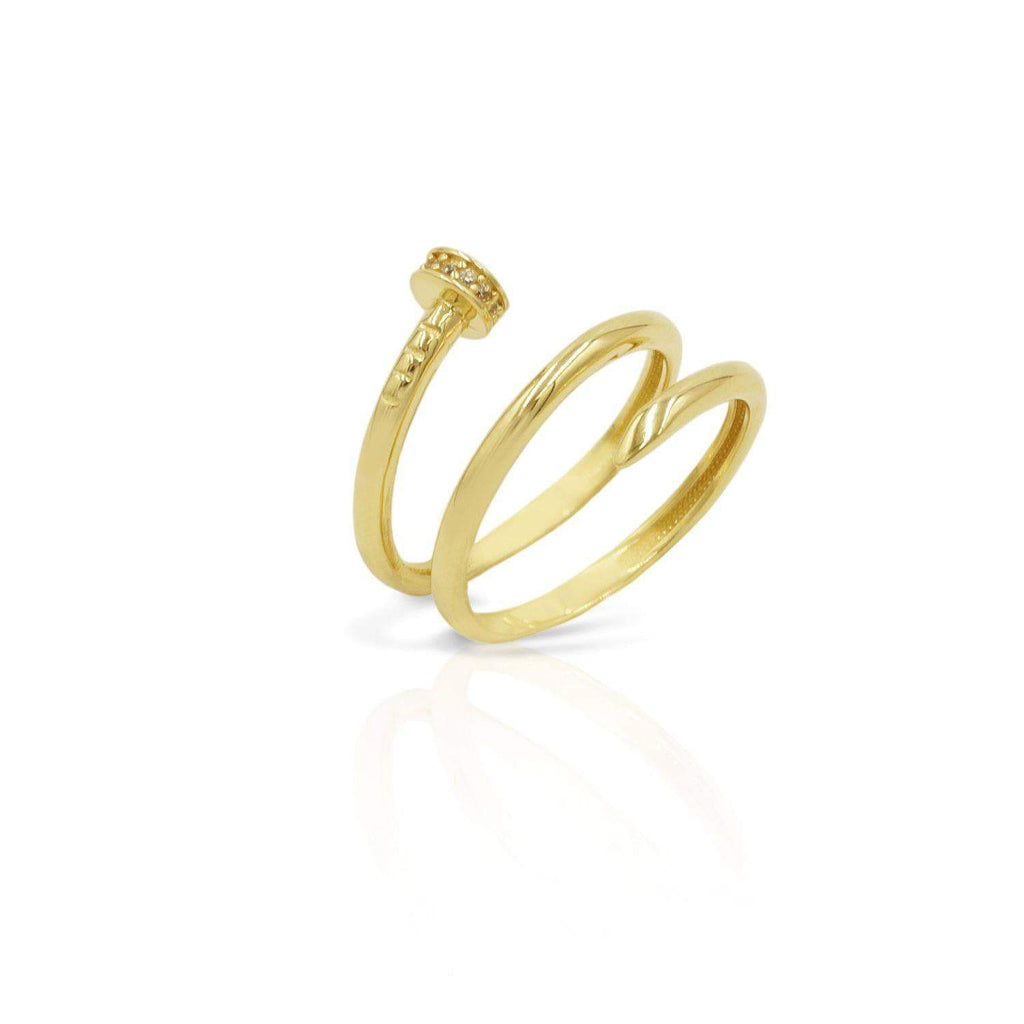 Las Villas Jewelry Womens Ring Nail Women's Fashion Ring in 14kt Gold