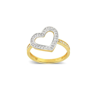 Las Villas Jewelry Womens Ring Women's Heart Ring with Zirconia in 14kt Gold