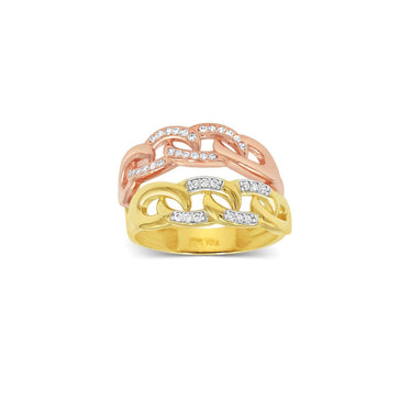 Las Villas Jewelry Womens Ring Women's Knot Rose and Yellow Gold Ring with Zirconia in 14kt