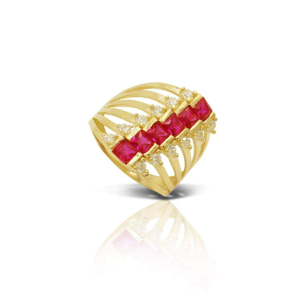 Las Villas Jewelry Womens Ring Women's Multi Stone Fashion Ring in 14kt Gold