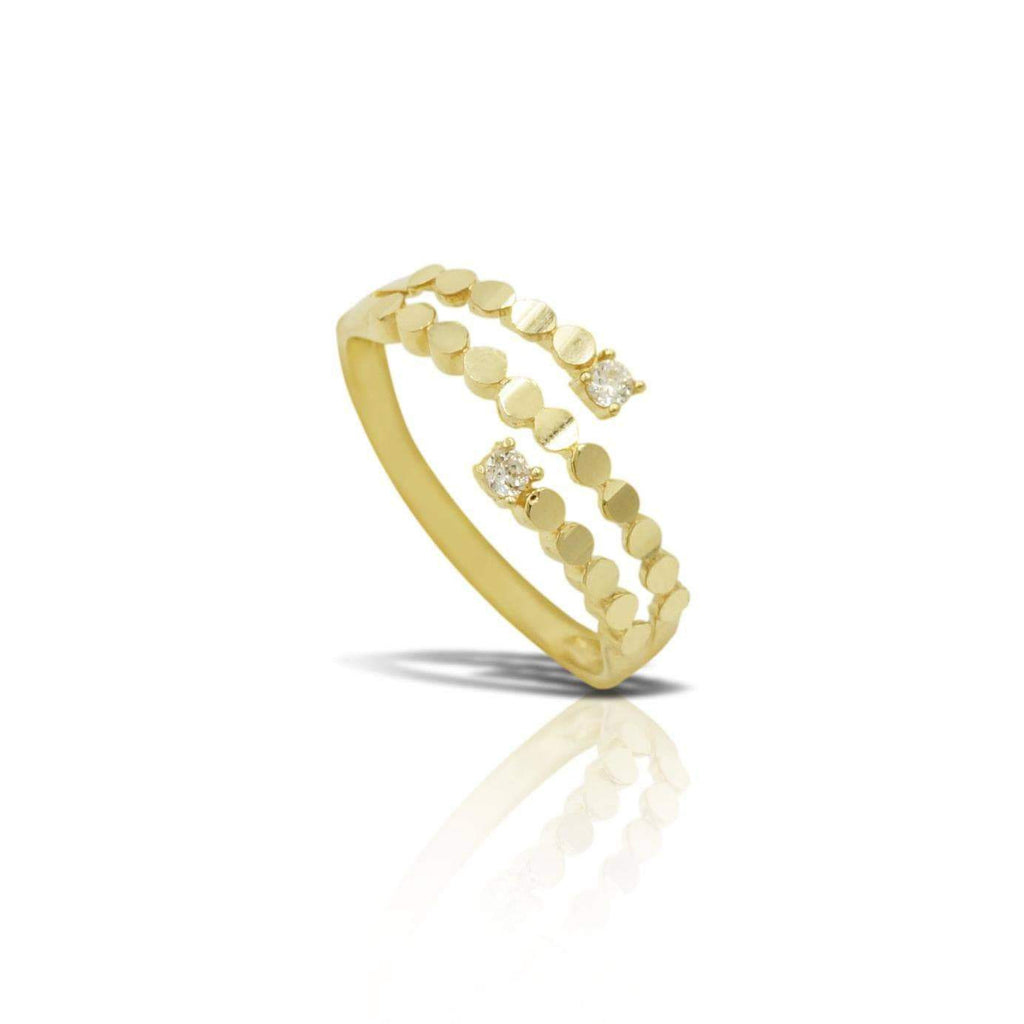 Las Villas Jewelry Womens Ring Women's Tri Bar Fancy Ring in 14kt Gold