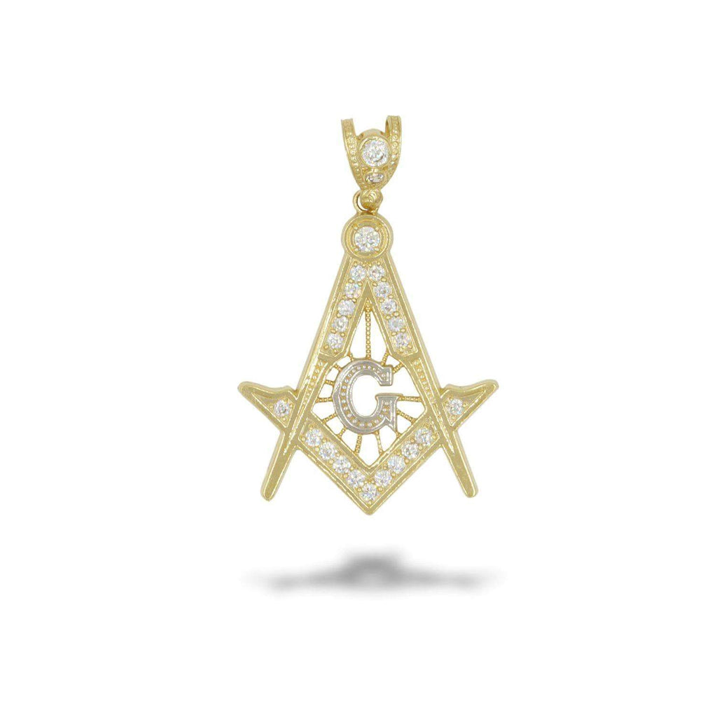 Las Villas Pendant 10K Yellow Gold Masonic Pendant with CZ