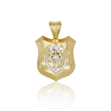 Las Villas Pendant 14K Anchor Shield Mens Pendant in Yellow Gold