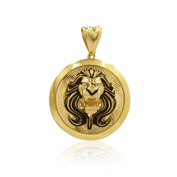 Las Villas Pendant 14K Lion Head Pendant with Zirconias in Eyes in Yellow Gold