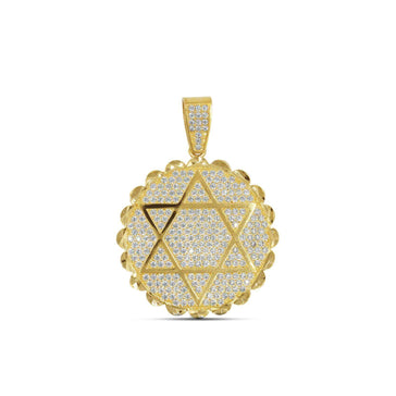 Las Villas Pendant 35mm Star of David Gold Pendant with CZ in 10K Yellow Gold