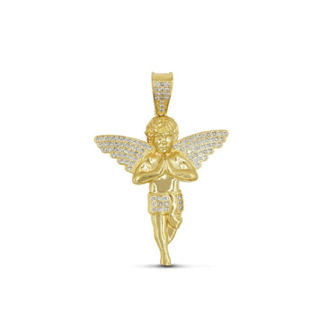 Las Villas Pendant Angel Gold Pendant with CZ in 10K Yellow Gold