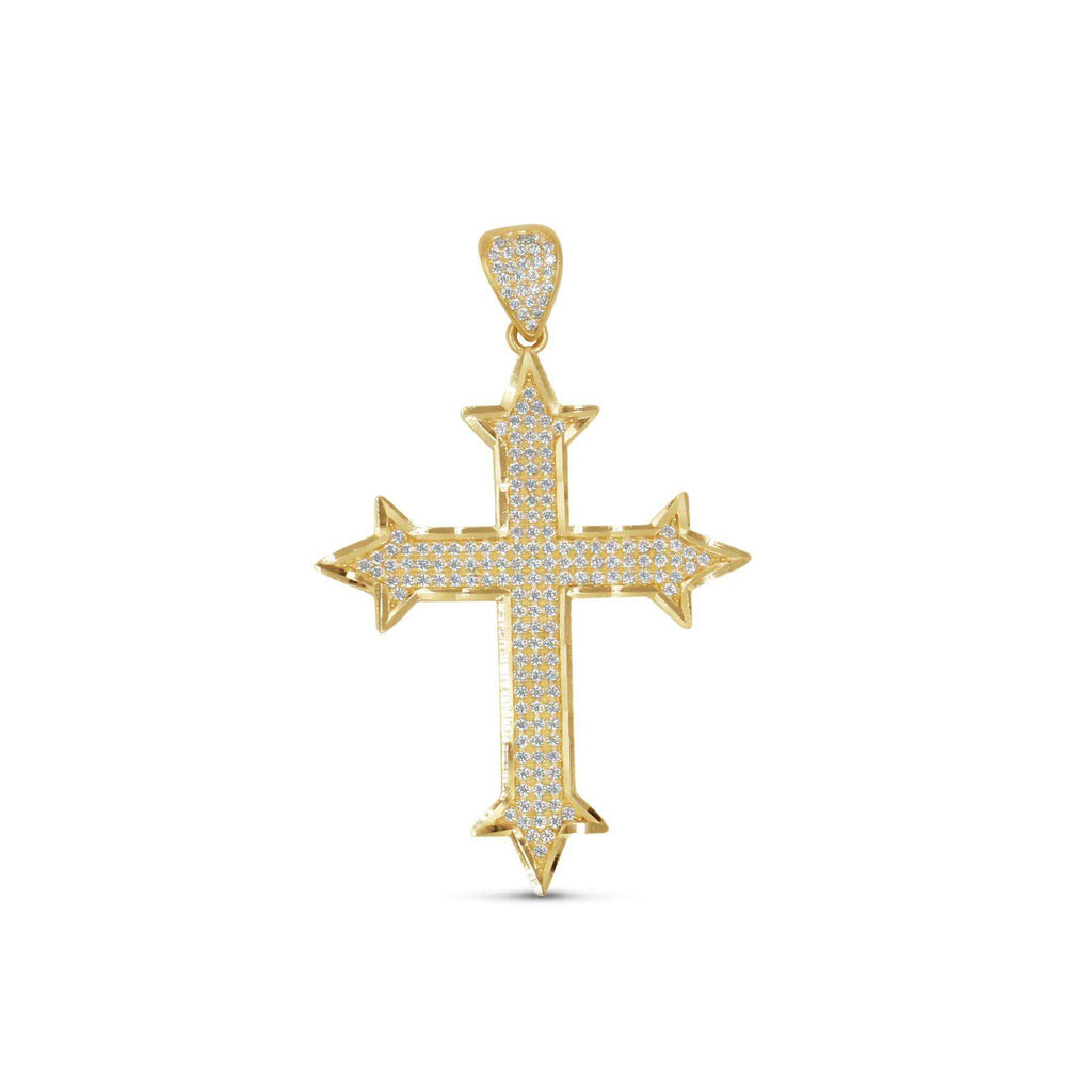 Las Villas Pendant Cross Gold Pendant with CZ in 10K Yellow Gold