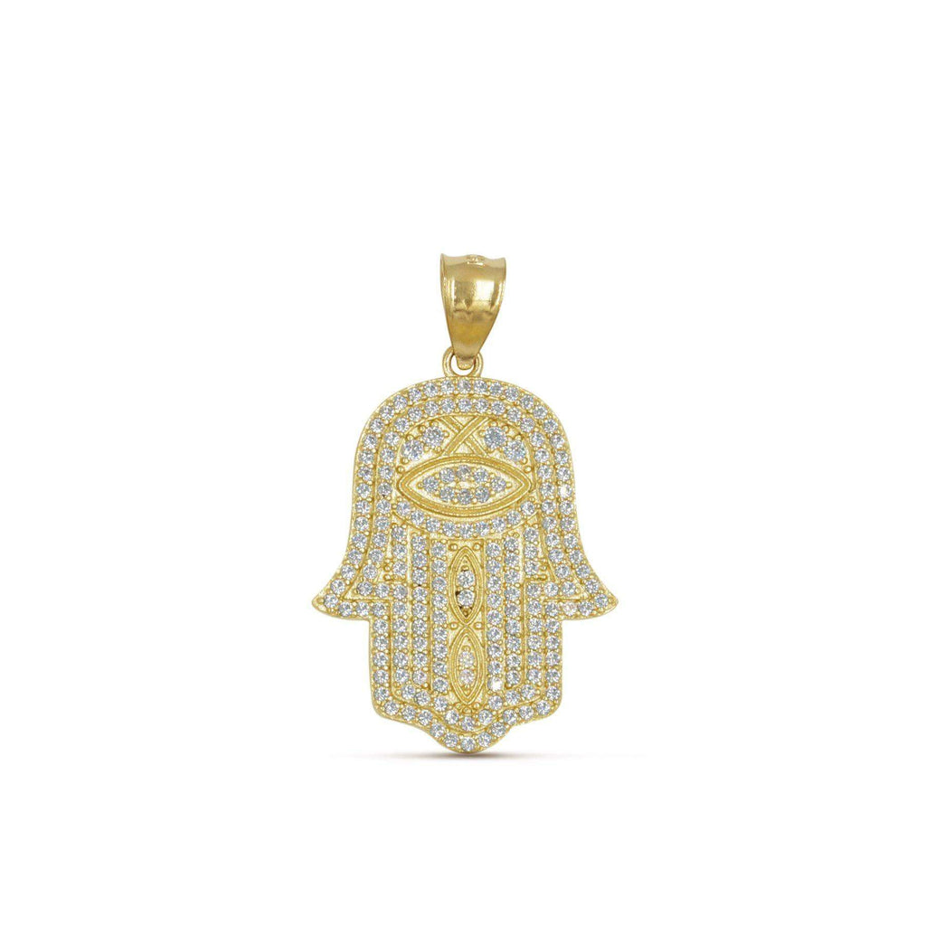Las Villas Pendant Hamsa Hand Of GOD Gold Pendant with CZ in 10K Yellow Gold