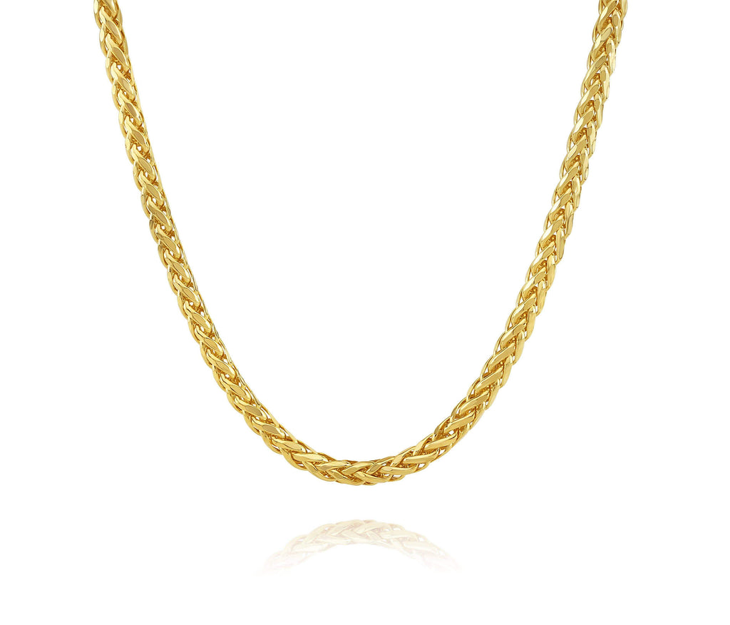 Las Villas Woman Necklace Spiga Chain in 14K Yellow Gold