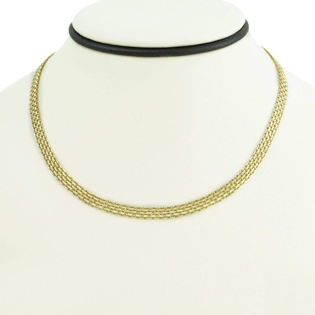 Las Villas Women's Choker Necklaces 16 inch 14K Womens Bismark Micro Necklace in Yellow Gold