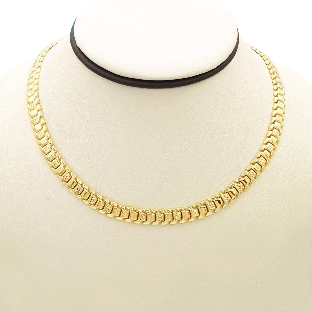 Las Villas Women's Choker Necklaces 17 Inch 14K Fancy Italian Choker Necklace in Yellow Gold