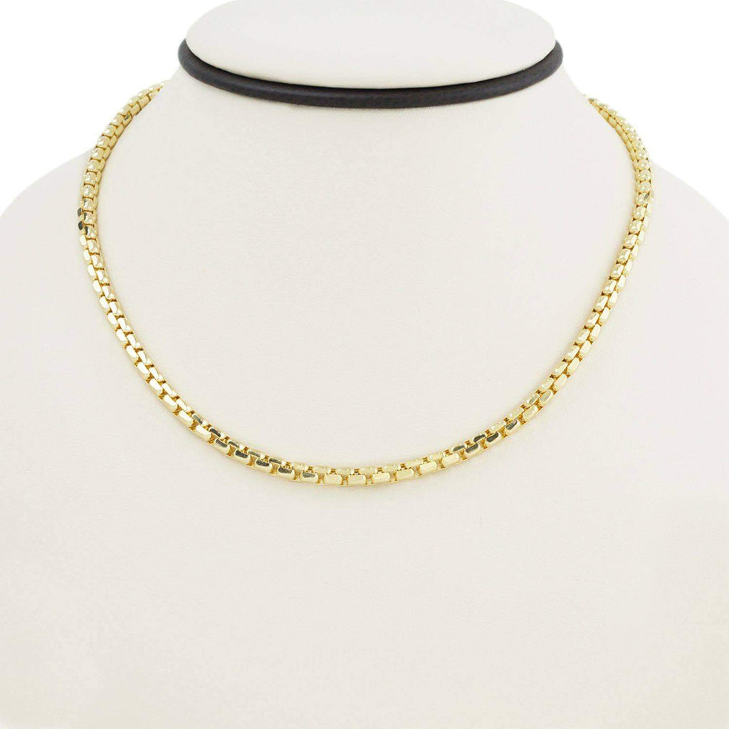 Las Villas Women's Choker Necklaces 17 Inch Women's Box Link Necklace in 14K Gold