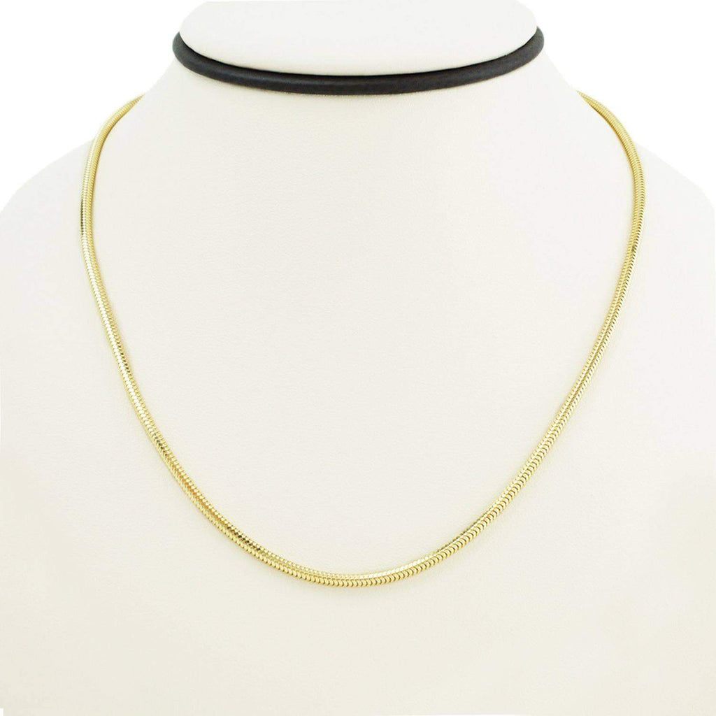 Las Villas Women's Choker Necklaces 18 Inch Women's Choker Snake Link Necklace in 14K Gold