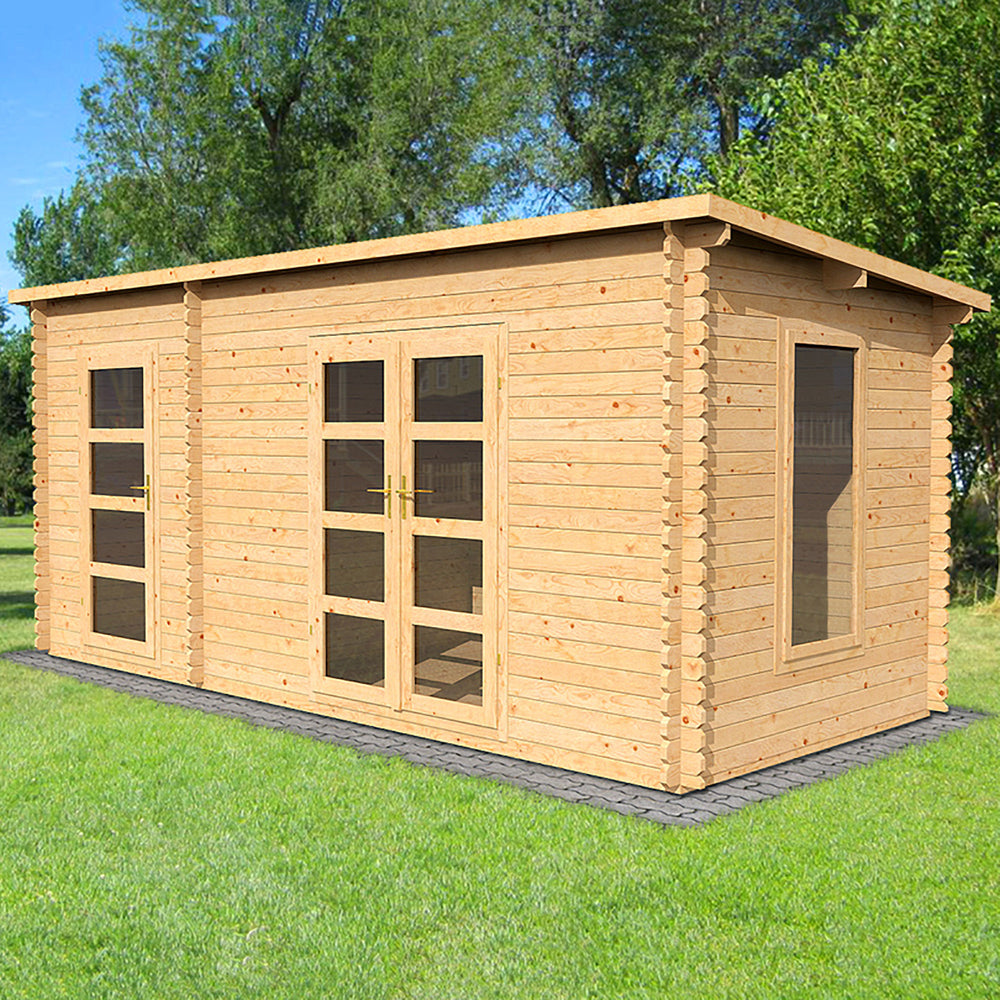 5.4m x 2.5m Pent Log Cabin With Side Shed