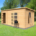 5.4m x 2.5m Pent Log Cabin With Side Shed - Barewood Buildings