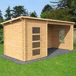 5.4m x 2.5m Pent Log Cabin With Open Space - Barewood Buildings