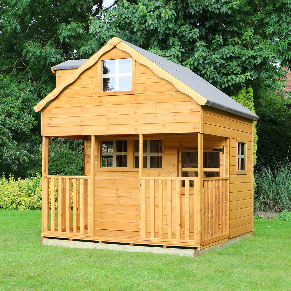 7x7 - Double Storey Playhouse with Dorma Window - Barewood Buildings