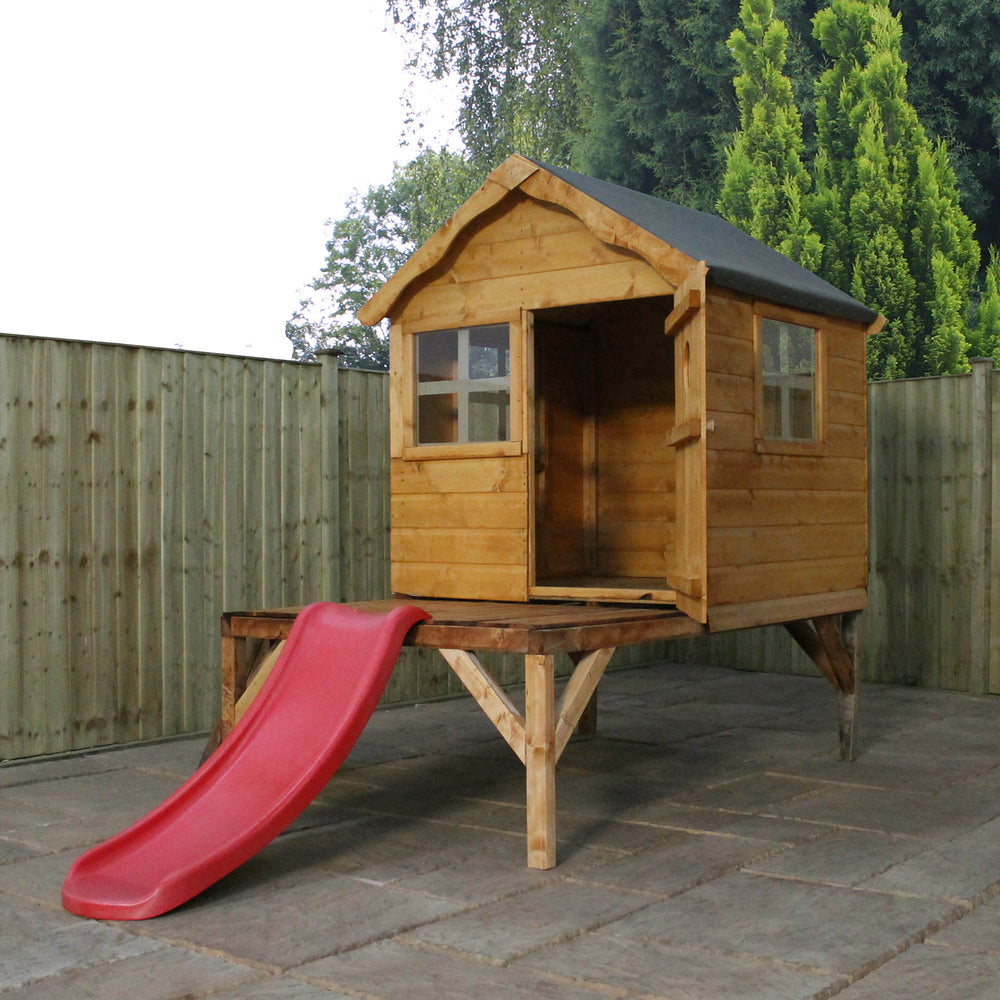 Snug Playhouse & Tower & Slide - Barewood Buildings