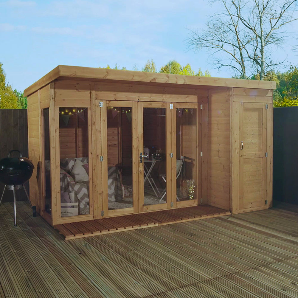 12x8 - Premium Garden room with side shed - Barewood Buildings