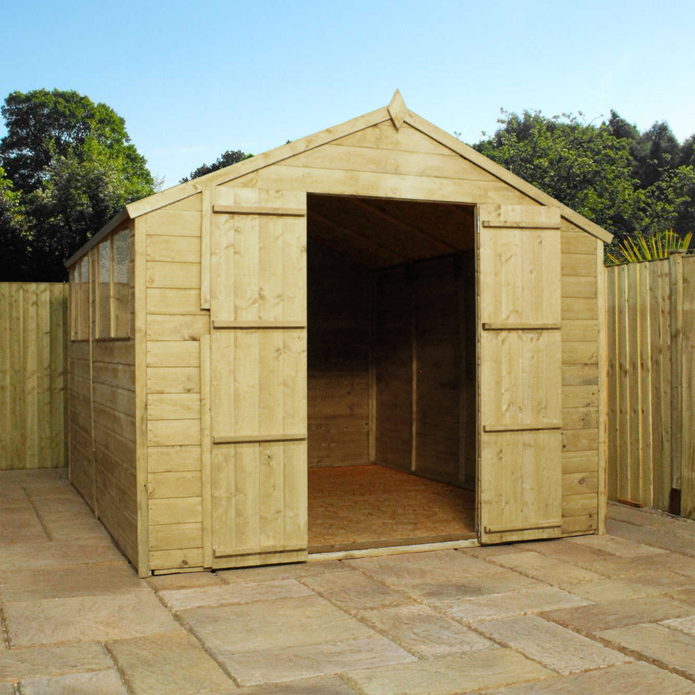 12x8 - Pressure Treated Apex Shed - Barewood Buildings