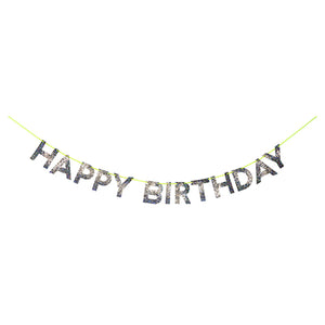 Silver Glitter Happy Birthday Banner