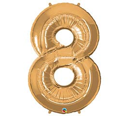"34"" Gold Number 8 Foil Balloon"