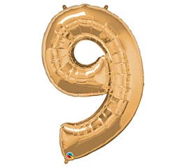 "34"" Gold Number 9 Foil Balloon"