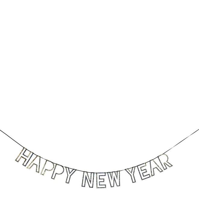 Silver Glitter New Year Garland