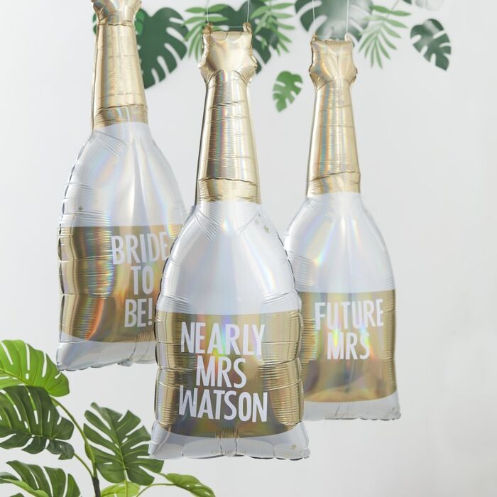 Gold Foiled Personalized Champagne Bottle Balloon