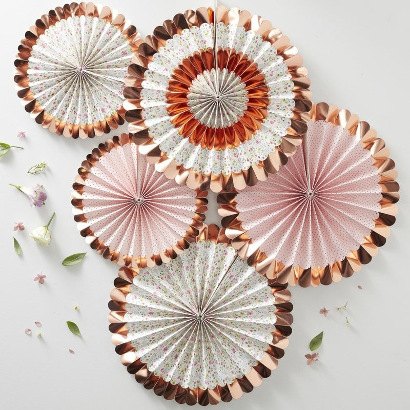 Rose Gold Foiled Floral Party Fans