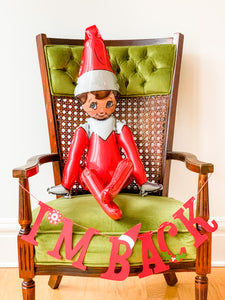 """I'm Back"" Elf on the Shelf Balloon and Banner"