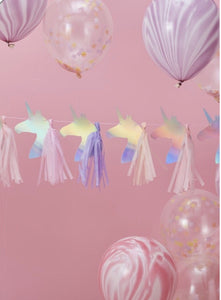 Magical Unicorn Iridescent Foiled Tassel Garland