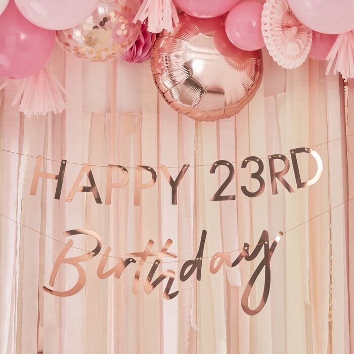 Customizable Milestone Rose Gold Birthday Banner