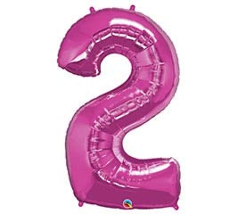 "34"" Pink Number 2 Foil Balloon"