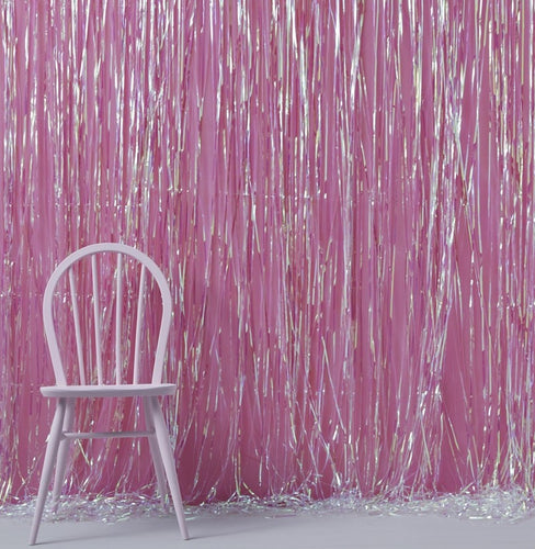 Iridescent Foil Fringe Curtain Backdrop